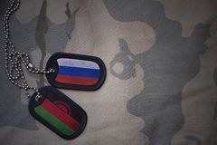 Army blank, dog tag with flag of russia and malawi on the khaki texture background. Military concept Royalty Free Stock Photos