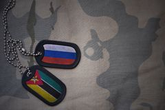 Army blank, dog tag with flag of russia and mozambique on the khaki texture background. Royalty Free Stock Image