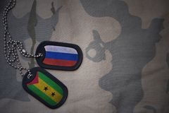 Army blank, dog tag with flag of russia and sao tome and principe on the khaki texture background. Military concept Stock Photo