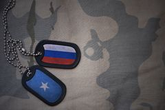 Army blank, dog tag with flag of russia and somalia on the khaki texture background. Military concept Stock Photography