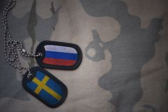 Army blank, dog tag with flag of russia and sweden on the khaki texture background. Military concept royalty free stock images