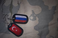 Army blank, dog tag with flag of russia and turkey on the khaki texture background. Military concept stock images