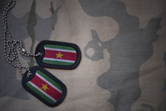 Army blank, dog tag with flag of suriname on the khaki texture background. Royalty Free Stock Images