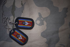 Army blank, dog tag with flag of swaziland on the khaki texture background. Royalty Free Stock Photo