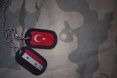 Army blank, dog tag with flag of syria and turkey on the khaki texture background. Military concept royalty free stock photography