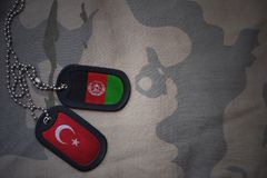 Army blank, dog tag with flag of turkey and afghanistan on the khaki texture background. Military concept stock image