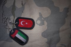 Army blank, dog tag with flag of turkey and united arab emirates on the khaki texture background. Military concept stock photos