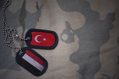 Army blank, dog tag with flag of turkey and yemen on the khaki texture background. Military concept stock image