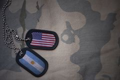 Army blank, dog tag with flag of united states of america and argentina on the khaki texture background. Royalty Free Stock Photo