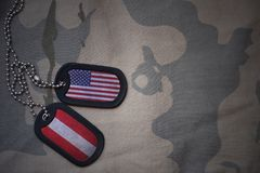 Army blank, dog tag with flag of united states of america and austria on the khaki texture background. Military concept stock photography