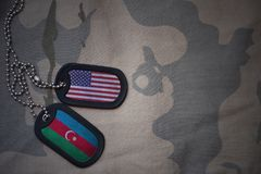 Army blank, dog tag with flag of united states of america and azerbaijan on the khaki texture background. Stock Photo