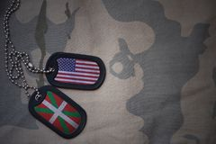 Army blank, dog tag with flag of united states of america and basque country on the khaki texture background. Military concept Royalty Free Stock Photo