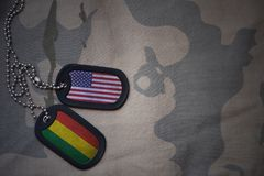 Army blank, dog tag with flag of united states of america and bolivia on the khaki texture background. Royalty Free Stock Photography