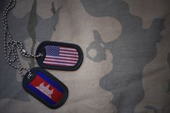 Army blank, dog tag with flag of united states of america and cambodia on the khaki texture background. Stock Photos