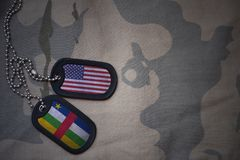 Army blank, dog tag with flag of united states of america and central african republic on the khaki texture background. Military concept royalty free stock image