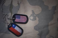 Army blank, dog tag with flag of united states of america and chile on the khaki texture background. Royalty Free Stock Photography