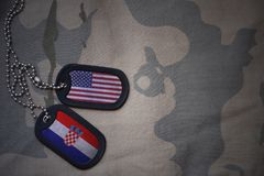 Army blank, dog tag with flag of united states of america and croatia on the khaki texture background. Stock Images