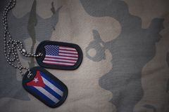 Army blank, dog tag with flag of united states of america and cuba on the khaki texture background. Stock Image