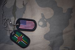Army blank, dog tag with flag of united states of america and dominica on the khaki texture background. Military concept royalty free stock images