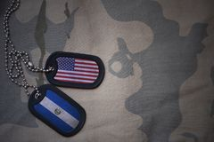 Army blank, dog tag with flag of united states of america and el salvador on the khaki texture background. Stock Photo