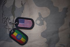 Army blank, dog tag with flag of united states of america and ethiopia on the khaki texture background. Stock Photo