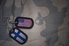 Army blank, dog tag with flag of united states of america and finland on the khaki texture background. Royalty Free Stock Photos