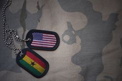 Army blank, dog tag with flag of united states of america and ghana on the khaki texture background. Stock Photos
