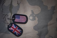 Army blank, dog tag with flag of united states of america and great britain on the khaki texture background. Stock Photos