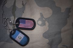 Army blank, dog tag with flag of united states of america and guatemala on the khaki texture background. Royalty Free Stock Images