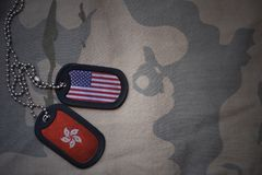 Army blank, dog tag with flag of united states of america and hong kong on the khaki texture background. Military concept royalty free stock photos