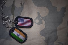 Army blank, dog tag with flag of united states of america and india on the khaki texture background Stock Photo