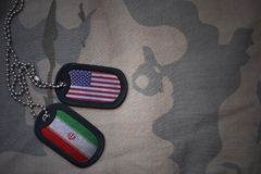 Army blank, dog tag with flag of united states of america and iran on the khaki texture background. Stock Photo