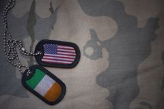 Army blank, dog tag with flag of united states of america and ireland on the khaki texture background. Military concept Stock Image