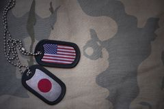 army blank, dog tag with flag of united states of america and japan on the khaki texture background. stock image