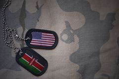 Army blank, dog tag with flag of united states of america and kenya on the khaki texture background. Military concept stock images