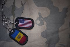 Army blank, dog tag with flag of united states of america and moldova on the khaki texture background. Royalty Free Stock Images