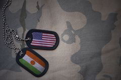 Army blank, dog tag with flag of united states of america and niger on the khaki texture background. Stock Photo