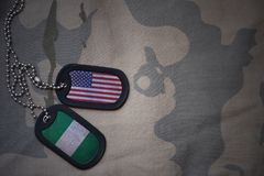 Army blank, dog tag with flag of united states of america and nigeria on the khaki texture background. Stock Images