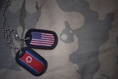 army blank, dog tag with flag of united states of america and north korea on the khaki texture background. royalty free stock photography