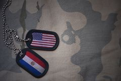 Army blank, dog tag with flag of united states of america and paraguay on the khaki texture background. Royalty Free Stock Image