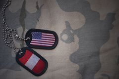 Army blank, dog tag with flag of united states of america and peru on the khaki texture background. Military concept royalty free stock image