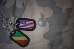 Army blank, dog tag with flag of united states of america and republic of the congo on the khaki texture background. Royalty Free Stock Photos