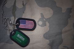 Army blank, dog tag with flag of united states of america and saudi arabia on the khaki texture background. Royalty Free Stock Photos
