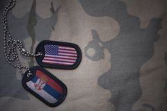 Army blank, dog tag with flag of united states of america and serbia on the khaki texture background. Royalty Free Stock Images