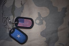 Army blank, dog tag with flag of united states of america and somalia on the khaki texture background. Military concept Stock Photography