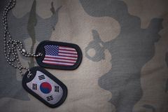 Army blank, dog tag with flag of united states of america and south korea on the khaki texture background. Military concept royalty free stock images