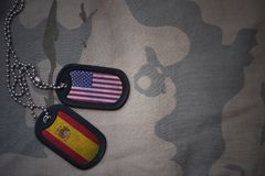 Army blank, dog tag with flag of united states of america and spain on the khaki texture background. Stock Photography
