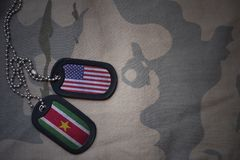 Army blank, dog tag with flag of united states of america and suriname on the khaki texture background. Military concept Royalty Free Stock Image