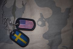 Army blank, dog tag with flag of united states of america and sweden on the khaki texture background. Stock Photos