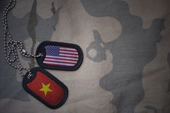Army blank, dog tag with flag of united states of america and vietnam on the khaki texture background. Military concept Royalty Free Stock Photos